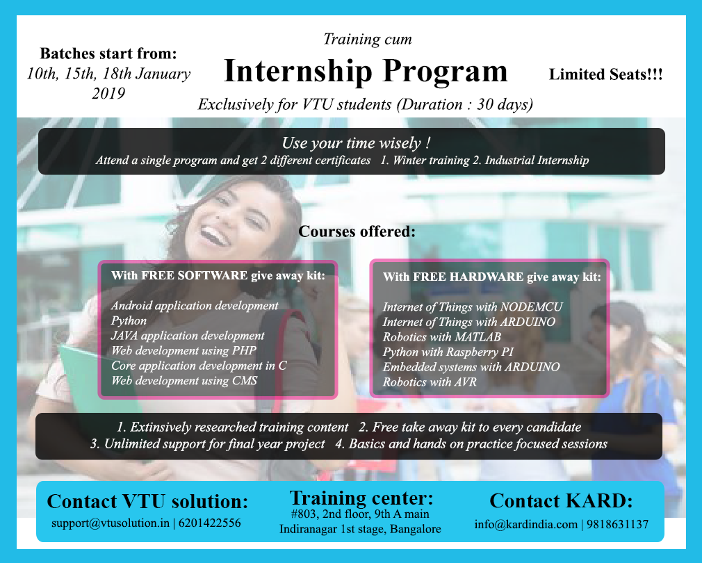 Internship for engineering students in bangalore vtu